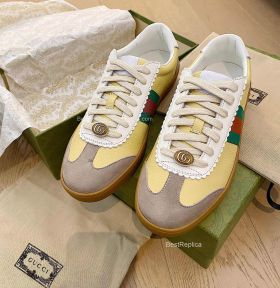 Gucci Screener Web Stripe Perforated Leather Trainers Sneakers Yellow 2191302