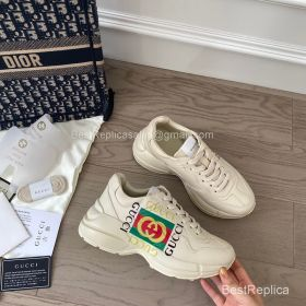 Gucci Rhyton Leather Sneaker with Gucci Logo Print 2191303
