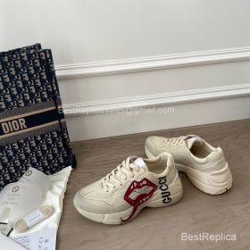 Gucci Rhyton Leather Sneaker with Mouth Print 2191304