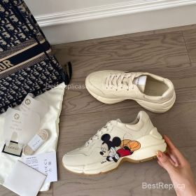 Gucci x Disney Rhyton Leather Sneaker with Mickey Mouses Print 2191305