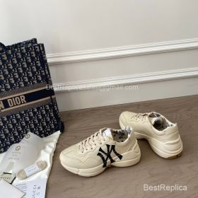 Gucci Rhyton Leather Sneaker with NY Yankees Logo Print 2191307