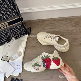 Gucci Rhyton Leather Sneaker with Gucci Strawberry Print 2191308