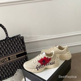 Gucci Rhyton Leather Sneaker with Gucci Hawaii Print 2191309