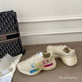 Gucci Rhyton Leather Sneaker with Gucci Logo Print 2191310